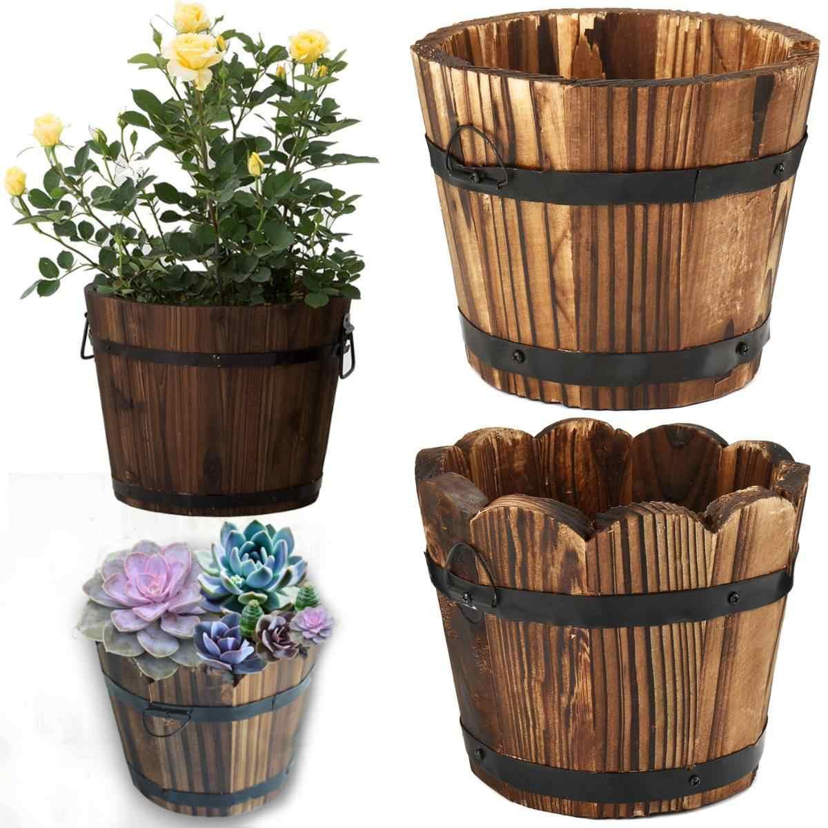 Pot Plante En Bois en bois petit baril primaires pot de fleur plante panier