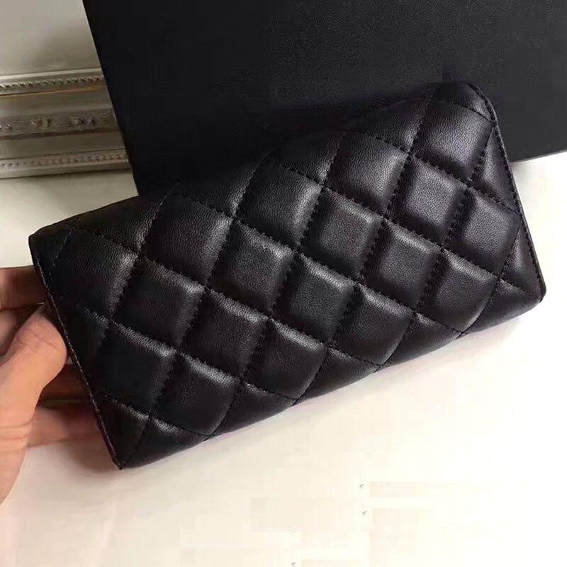 Classique femmes de luxe agneau cuir véritable Portefeuille designer marques D'embrayage topest qualité féminine casual bourse caviar Long Portefeuille