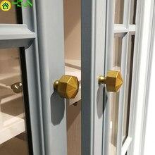 Gold Hexagon Cabinet Handle Modern Furniture Knobs Solid zinc alloy Cupboard Closet Drawer Pulls