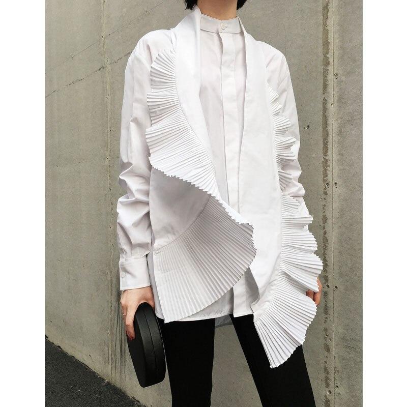 Été Ruches Nouveau Femelle Femme Et 2019 White Vêtement Mode Plissée Arc Printemps Pour La Blouse E311 En Col Poitrine Chemise Unique wg7wxTIcdq
