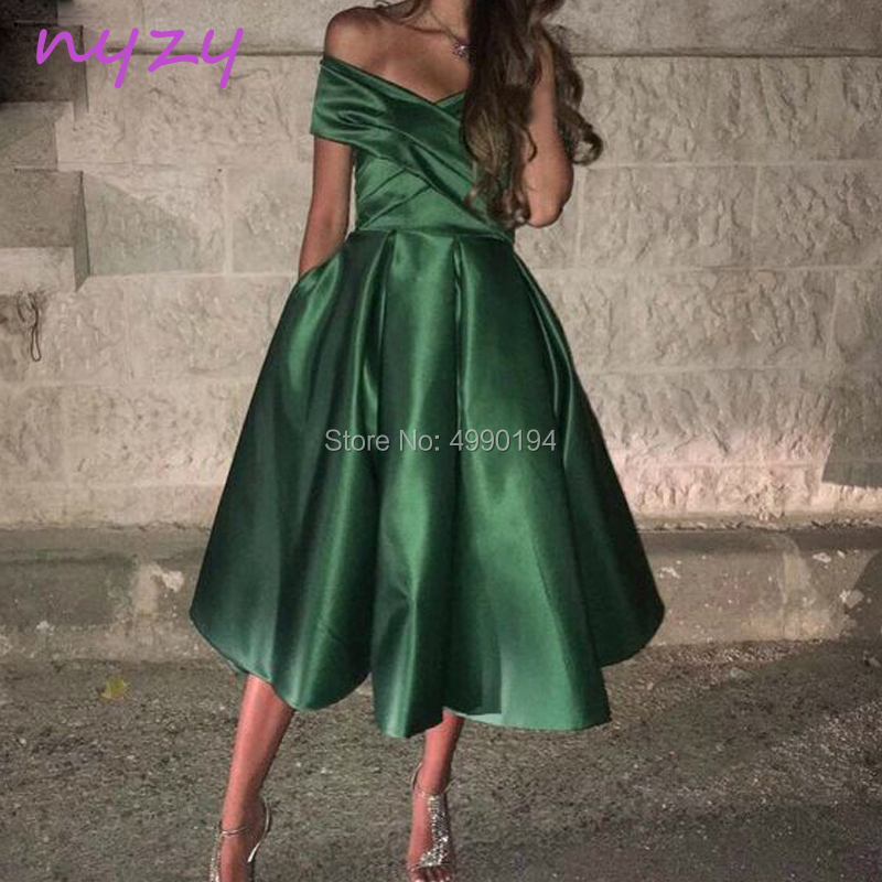 NYZY C66 Vestido Robe   Cocktail     Dresses   Elegant Satin Tea Length Green Party   Dress   robe de soiree courte 2019