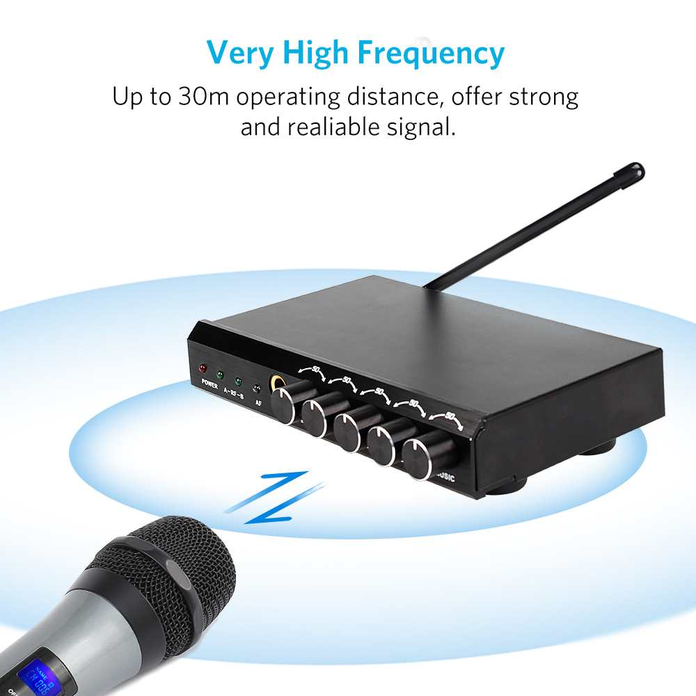 ARCHEER Drahtlose bluetooth Mikrofon System VHF Dual Chanels Handheld Mikrofon Systeme Mini Tragbare Singen Mixer Karaoke - 3