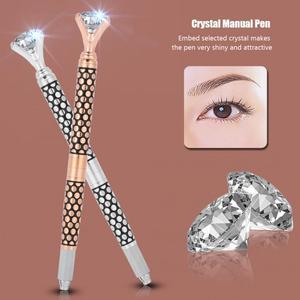 Image 5 - Eyebrow Manual Pen Microblading Tattoo Machine For Permanent Eyebrow Lip Makeup Embroidery Munsu Tebori With Crystal Diamond