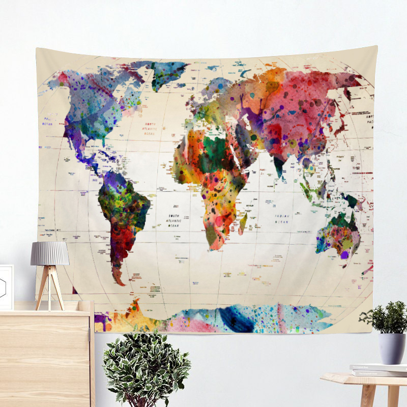 US $5.49 40% OFF|World Map Tapestry High Definition Map Fabric Wall Hanging  Decor Watercolor Map Letter Polyester Table Cover Yoga Beach towel-in ...