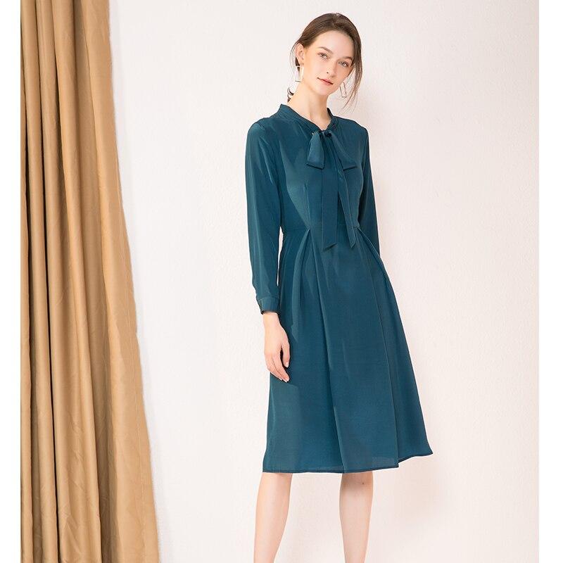 Kadın Giyim'ten Elbiseler'de Kadın Ipek Elbise 23mm 100% GERÇEK IPEK Krep Yay yaka Uzun Elbiseler Kadınlar için Ağır Ipek 2019 Bahar Yeni ofis bayan Elbise Şarap'da  Grup 3