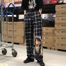 дешево!  Женщины Плед Лоскутное Широкие штаны Причинно Harajuku Hip Pop Брюки с принтом Свободные брюки с выс