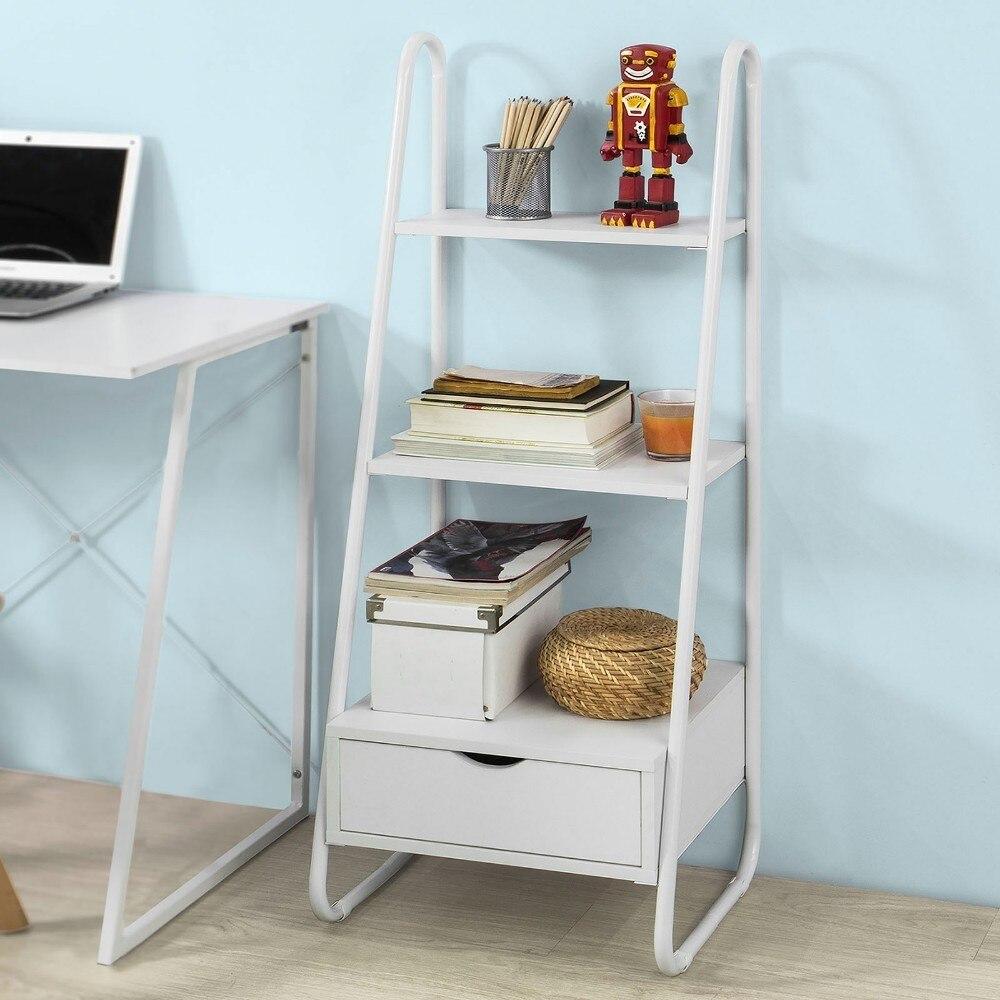 SoBuy FRG219, Free Standing Ladder Shelf Bookcase Storage Display Shelving Unit with 2 Shelves 1 Drawer