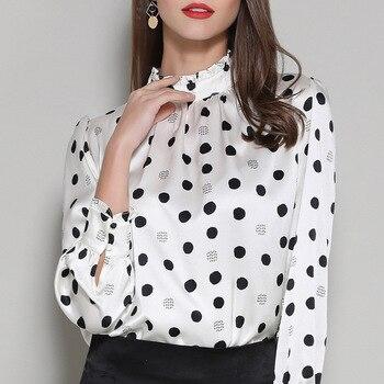 white polka dot satin silk office blouse womens tops and blouses 2019 elegant vintage sexy boho long sleeve plus size slim fit