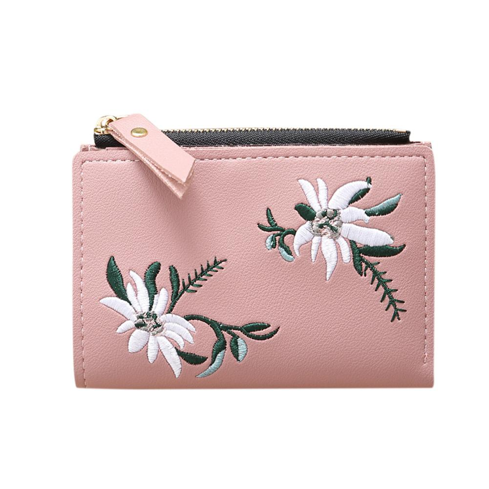 PinShang Ladies Wallet Mini Folding Purse Embroidered Flower Pattern Zipper Wallet Card Holder Wallets And Purses Women ZK30