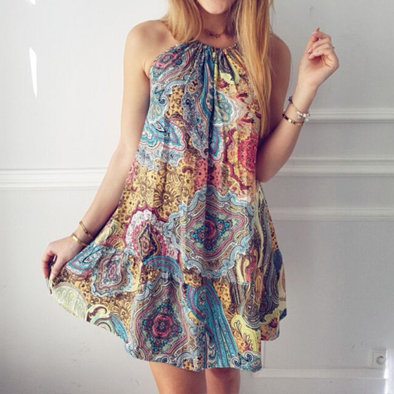 Women Summer Boho Dress 2019 Summer Long Party Dress Lady Halter Neck Vintage Sleeveless Beach Casual Loose Floral Printed Dress