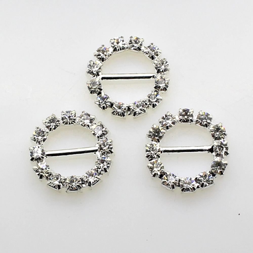 Hot Offer15mm (Inner Bar 10mm) 10Pcs/Lot Round Crystal Rhinestone Buckle Invitation Ribbon Slider For Wedding Silver Accessories