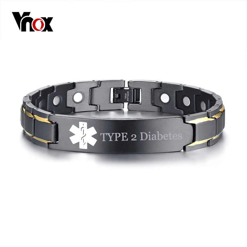Vnox Free Engraving TYPE 2 Diabetes Disease Name Medical Alert ID Bracelets for Men Women Health Therapy Magnetic Bangle Jewelry
