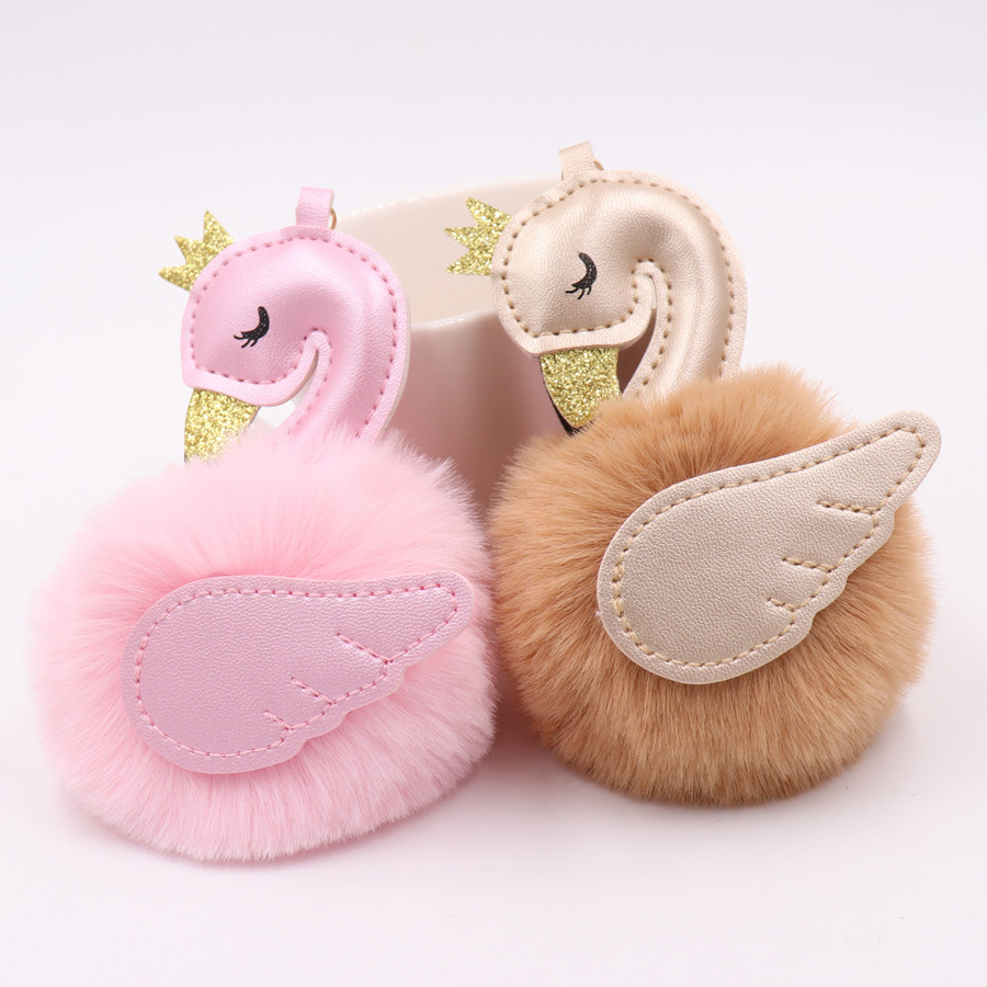 Car Keychain Cute Leather Metal Swan Plush keychain Keys Hang Girl Bag Pendant Jewelry Accessories Key Rings