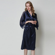 Silk Satin Wedding Bride Bridesmaid Robe Bathrobe Nightgown Short Lace Sexy Night Robes Fashion Dressing Gown For Women