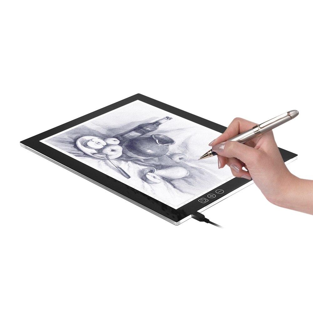 A4 LED Portable dessin Pad traçage boîte à lumière copie tablette pour les artistes en continu gradation lumière blanche/Orange