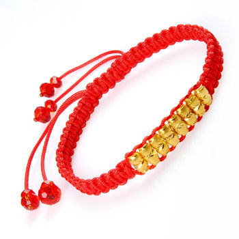 J.Lee 24K Yellow Gold 8 Oval Bead Lucky Red Knitted Bracelet 1.1g