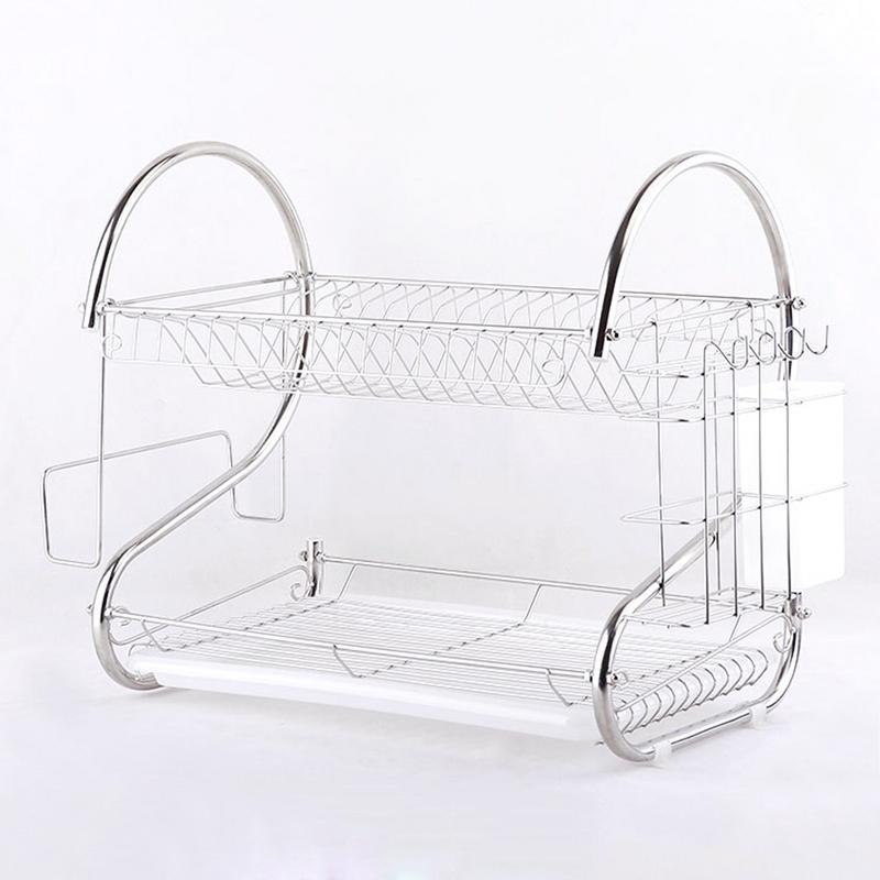 Multifunctional Storage Rack Dish Shelf Kitchenware Double Drain Storage Dish Racks Kitchen Large Capacity Storages Tools