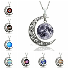 Fashion Accessories Crescent Moon Pendant Necklace Glass Dome Planet Moon Silver Chain Necklaces Jewelry Birthday Gift fashion solar system moon earth mars planet necklace antique silver crescent moon pendant chain necklace outer space jewelry