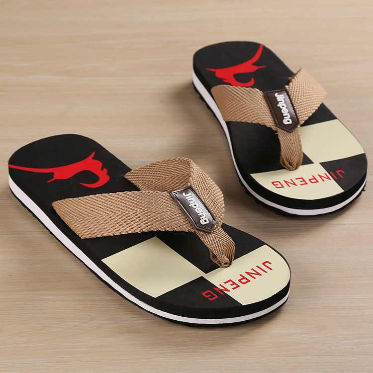 New Summer Large Size Slipper Man Creative Leisure Canvas Belt Flip-flops Male Anti-slip Out-door Shoes