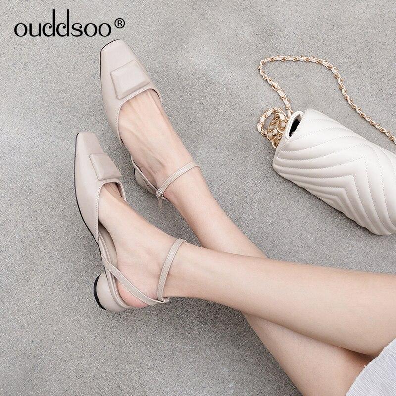 ODS 2019 New Women Summe Solid Color Flat Sandals Flat Shoes Cold Square Toe Shoes Bandage Sandals Sling back shoes 40