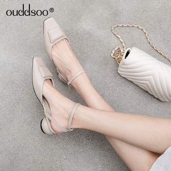 ODS 2019 New Women Summe Solid Color Flat Sandals Flat Shoes Cold Square Toe Shoes Bandage Sandals Sling back shoes 40