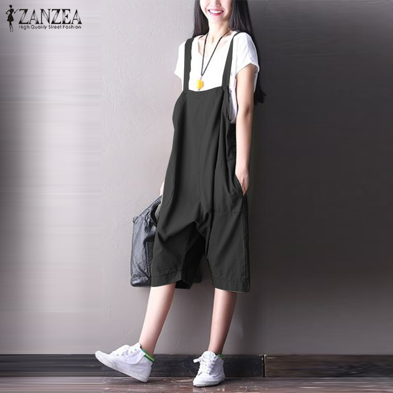 Purposeful Zanzea Casual Drop Crotch Rompers Women Summer Strappy Solid Cotton Linen Harem Jumpsuits Ladies Loose Overalls Suspenders Pants Pure And Mild Flavor Women's Clothing