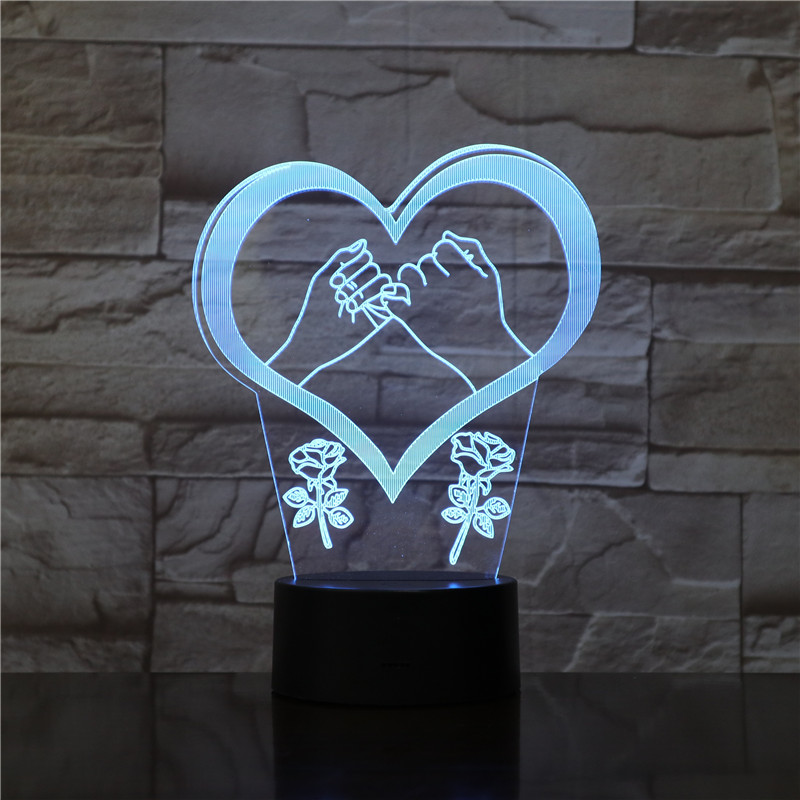 Love Heart Two hands 3d Night Light 7 Color Touch Remote Control Led Visual Lamp Gift Decoration Usb Led 3d Light Fixtures 1716