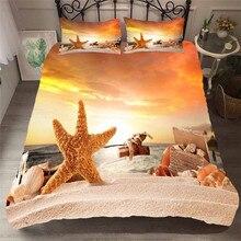 寝具セット 3D プリント布団カバーベッド大人のためのセットビーチヒトデホームテキスタイル寝具枕 # HL25