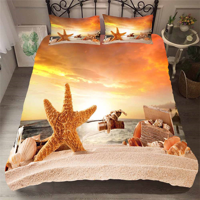Bedding Set 3D Printed Duvet Cover Bed Set Beach Starfish Home Textiles for Adults Bedclothes with Pillowcase #HL25