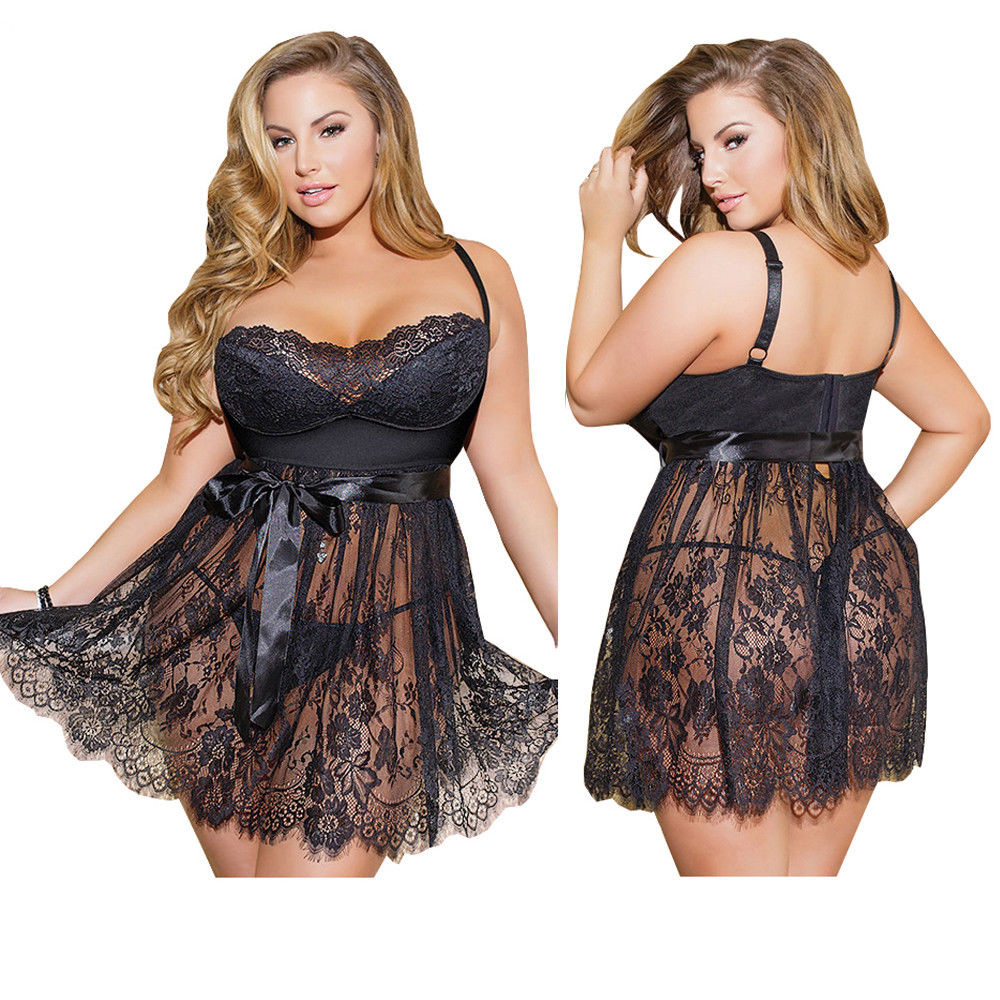 Sexy Womens Sexy Babydoll Plus Size Lingerie Lace Satin Hollow-Out Sleepwear Backless Nightwear Sets