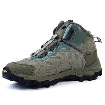 Hombres al aire libre senderismo Trekking deportes tácticos botas militares de cuero de invierno de encaje de combate ejército tobillo plano trabajo de seguridad zapatos masculinos