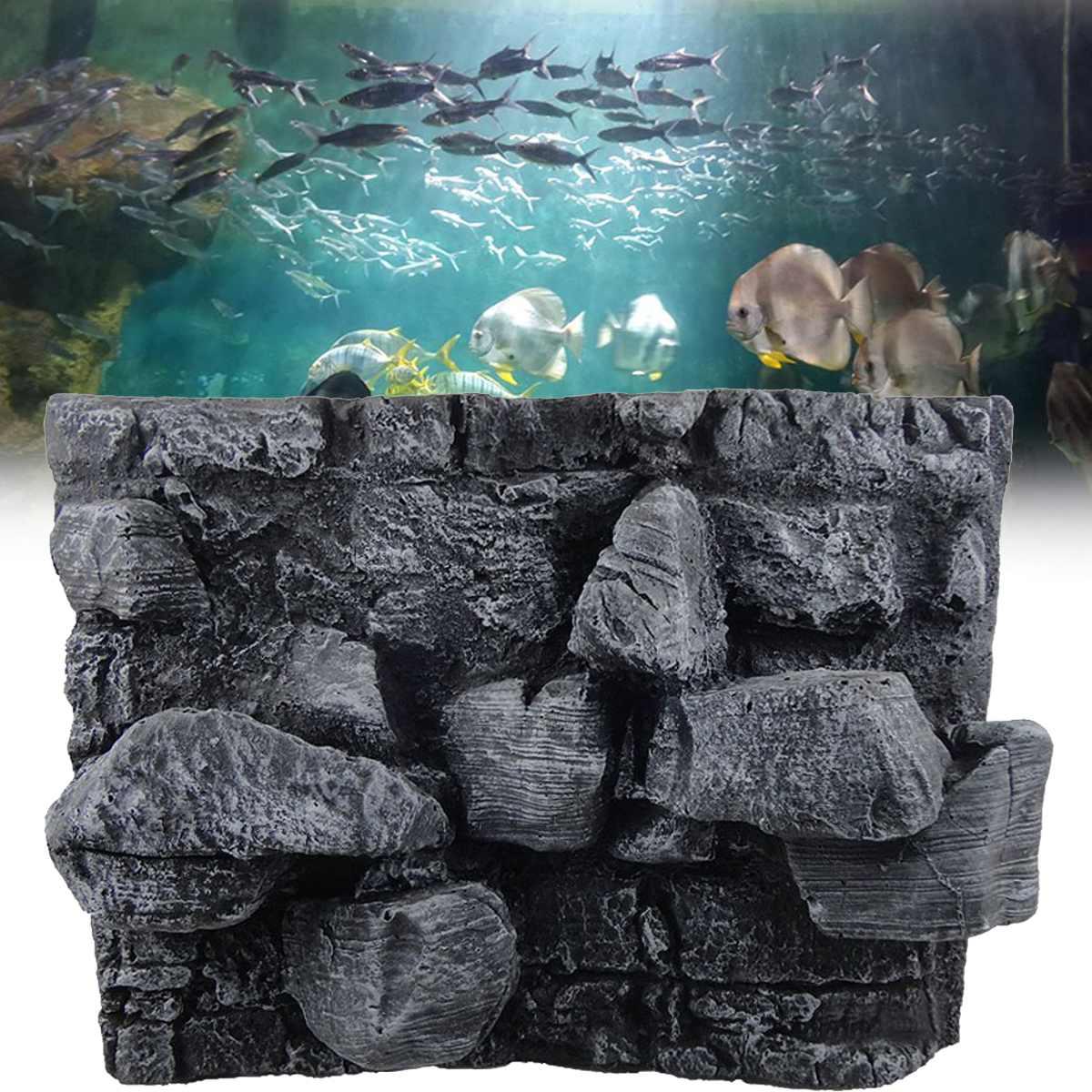 Reptiles grand 3D pierre roche Aquarium fond PU conseil poisson réservoir toile de fond plaque aquatique mur décorations