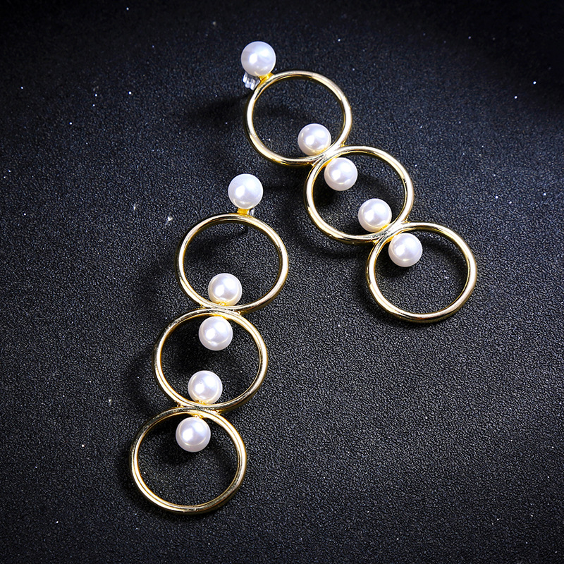 3 Round Circle Romantic Trendy Elegant Created Simulated Pearl Long Earrings String Statement Drop Earrings Wedding Party Gift