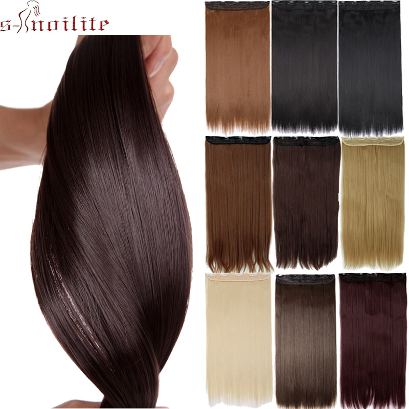 Synthetic Clip-in One Piece Fast Deliver S-noilite 26 Long Straight Women Clip In Hair Extensions Long Fake Hair Synthetic Hair 5 Clip Ins Red Purple Pink Hair Pieces