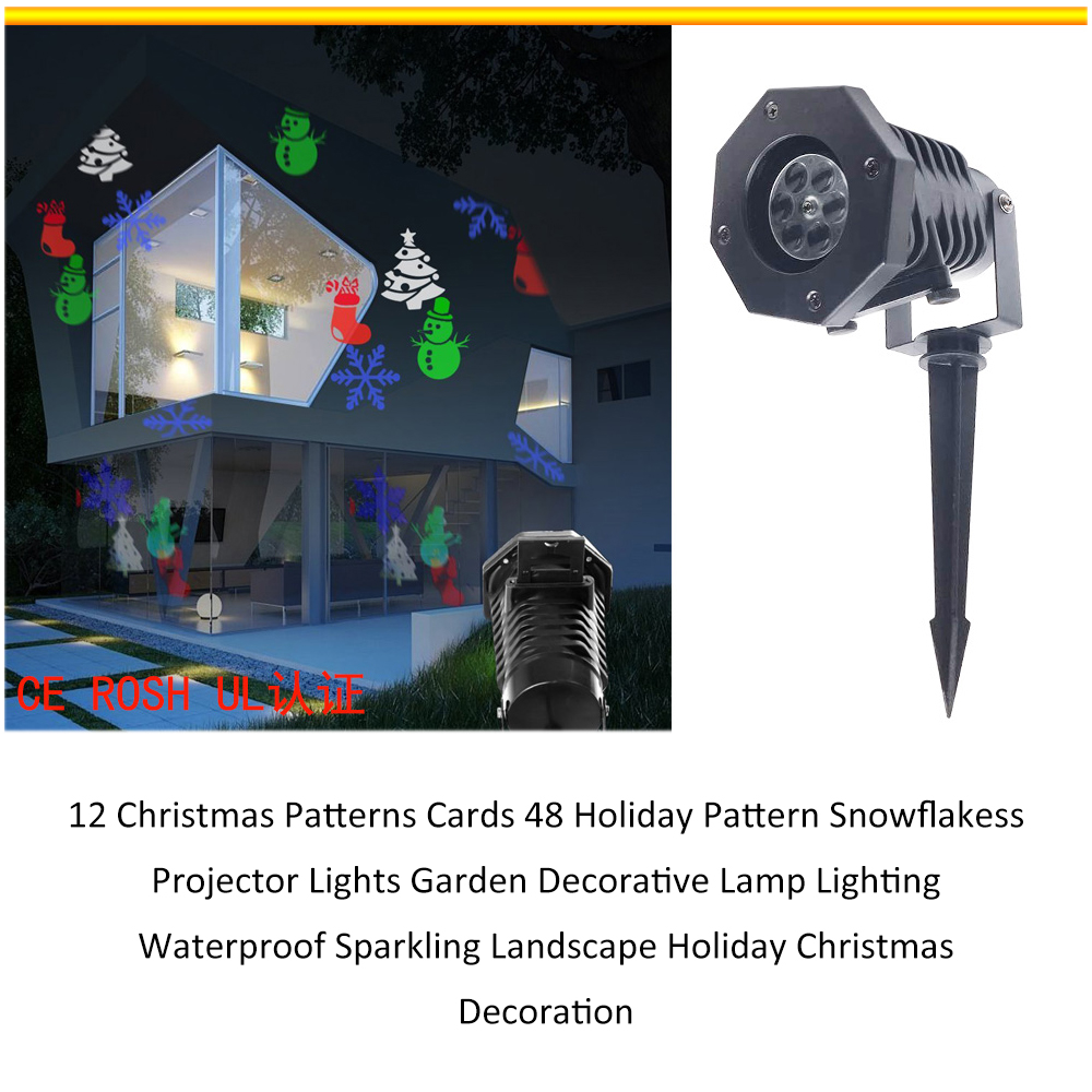 Access Control Faithful 12 Christmas Patterns Cards 48 Holiday Pattern Snowflakess Projector Lights Garden Decorative Lamp Lighting Waterproof Sparkling Without Return Security & Protection