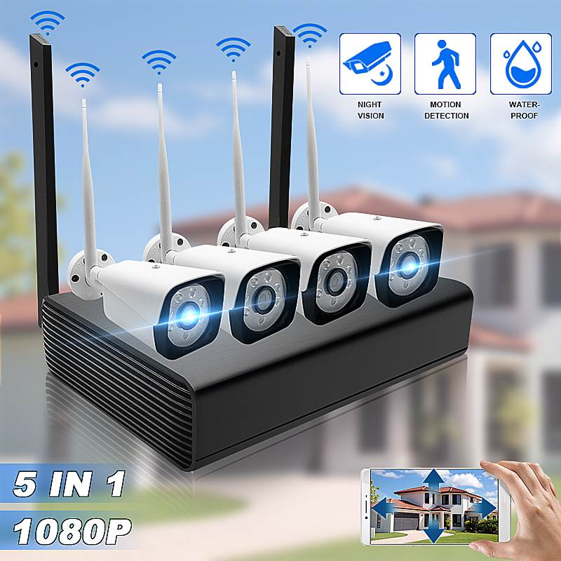 H.264 HD 1080P 4CH Wireless NVR Kits 8MP WIFI Outdoor IP Camera P2P CCTV HDMI Video Surveillance Security System Alarm Free APP