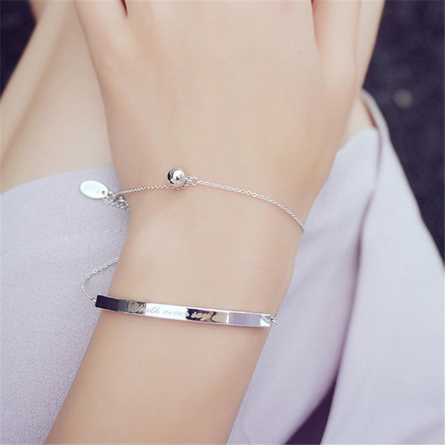 70e19610d5b349 Double Layers Words Youth Never Say Die Bar Bracelet Gift for Women Rose  Gold Color Bracelets Girl Jewelry Hand Chain or Anklet