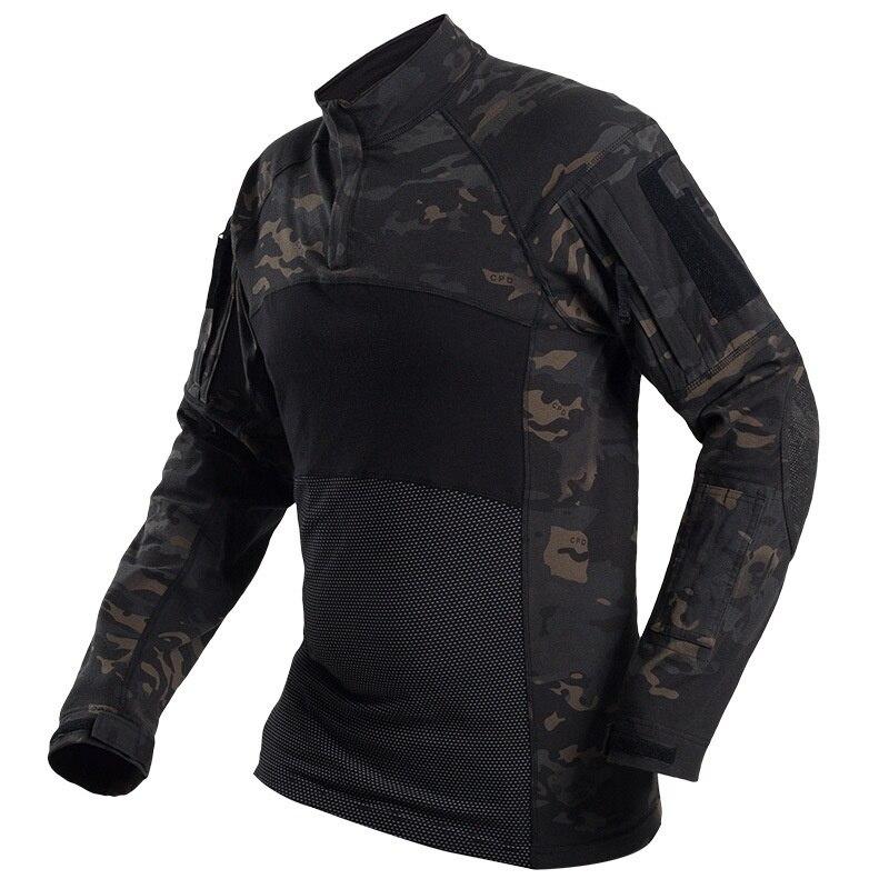 Multicam noir chemise tactique armée militaire Combat chemises Camo hommes à manches longues séchage rapide en plein air randonnée chasse t-shirt