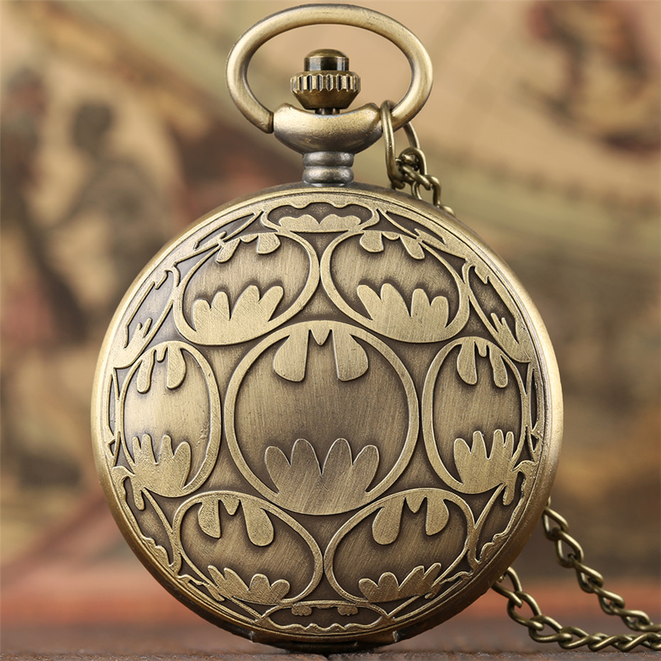 Cartoon Batman Design Quartz Pocket Watch Vintage Bronze Lovely Pendant Clock Gifts For Kids Boys Girls With Necklace Chain