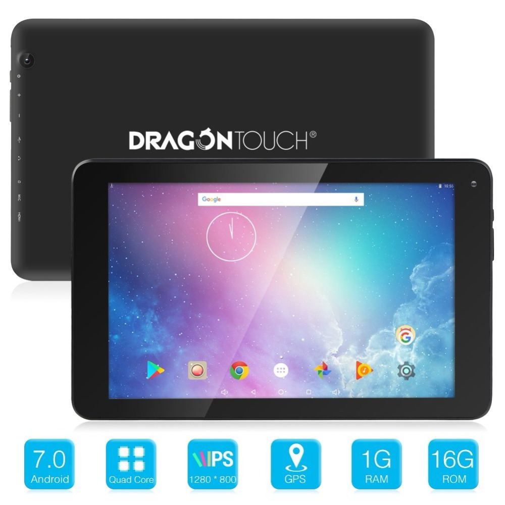 Dragon Touch V10 10 pouces GPS Android 7.0 Wifi Bluetooth tablette Nougat MTK Quad Core 1 GB RAM 16 GB stockage, 800x1280 IPS affichage