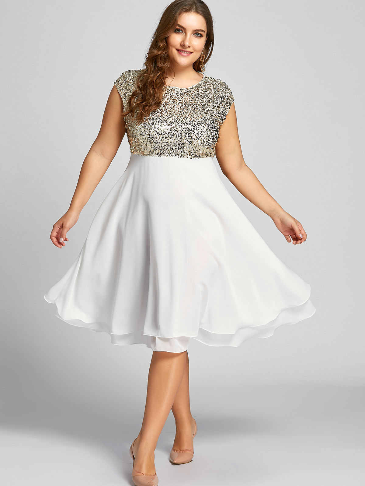 538f67594893a Detail Feedback Questions about Kenancy Plus Size Flounce Sequin ...