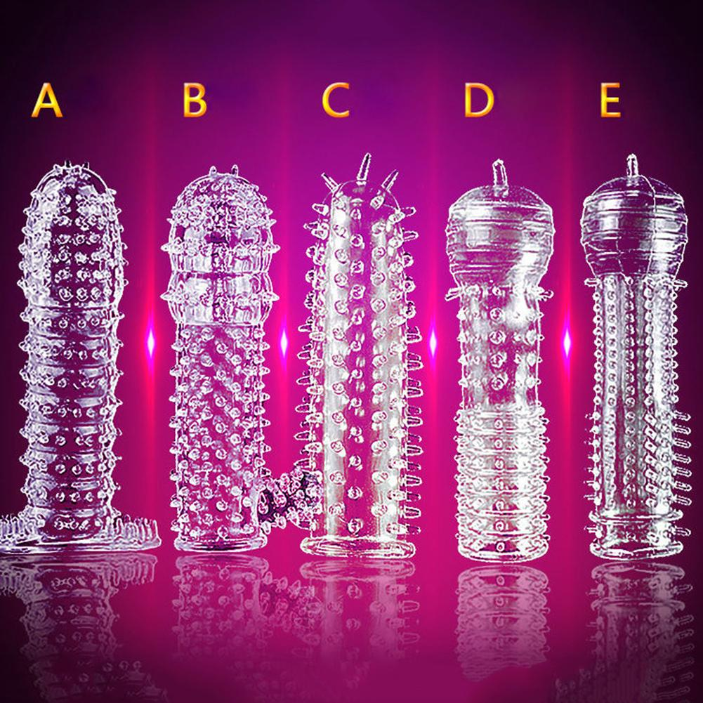Silicone Clear Condom Penis Extension Sleeve Male Lengthen Delay Spray Penis Enlargement Massager Cock Ring Cover Adult Sex Toys