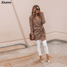 2018 Autumn Women Fashion Elegant Asymmetrical V Neck Irregular Hem Winter Jacket Solid Wrapped Self-Belted Long Sleeve Coat цена 2017