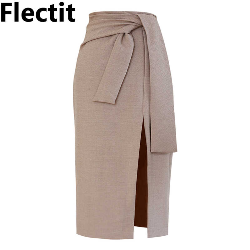 d62a30c8713a Flectit Womens Tie Knotted Front Split Pencil Midi Skirt Classic Elegant  Solid Bodycon Skirt For Career