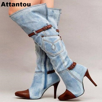 Fashion Blue Denim Jeans Women Over The Knee Boots Sexy Thin High Heel Pointed Toe Thigh High Boots Leather Buckle Designer Boot