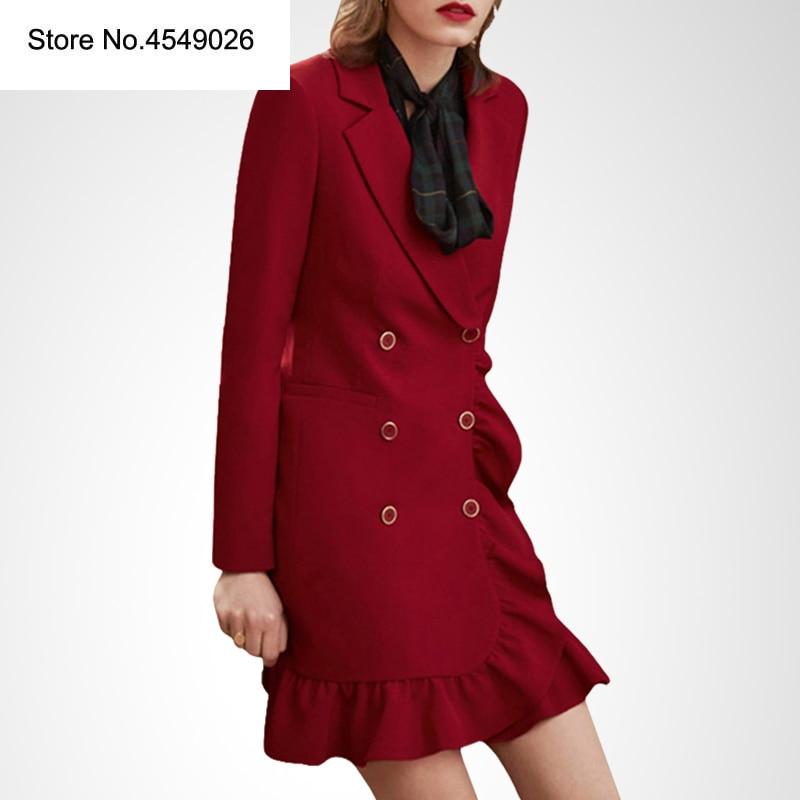 Élégant volant Double boutonnage femmes robe bureau jolie pochette robe 2019 printemps été Slim costume dames robes H661718
