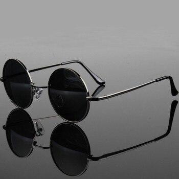 5c38a3c6b4 2018 de moda gafas estilo real gafas de sol polarizadas gafas vintage gafas  de sol redondas de UV400 lente negro