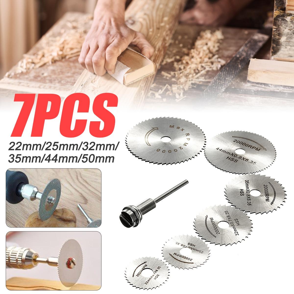 6Pcs HSS Circular Saw Blade + 1Pcs HSS Circular Rotary Blade Wheel Discs Mandrel For Wood Cutting Saws Tool Accessories Kit Saws