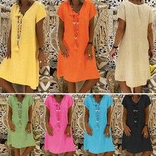 Women Summer Dress 2019 Solid V-Neck Short Sleeve Ethnic Dress Elegant Ladies Casual Loose Robe 3XL 4XL 5XL Plus Size Boho Dress