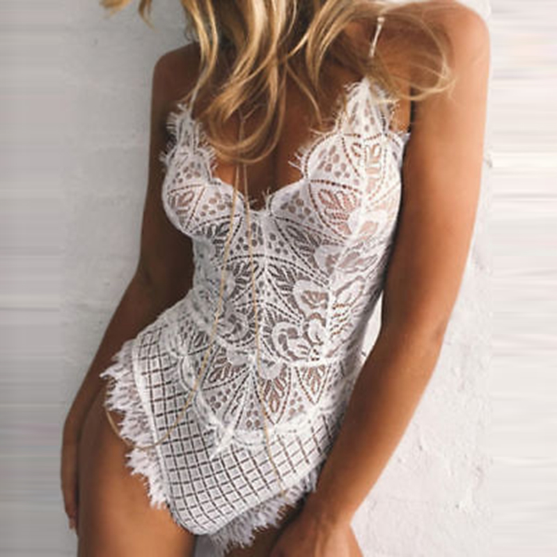 Sexy Lace Bodysuit Women V-Neck Nightgown Jumpsuits Romper Lady Body Shorts Suit Playsuits Woman Strappy Overall Bodysuit Tops
